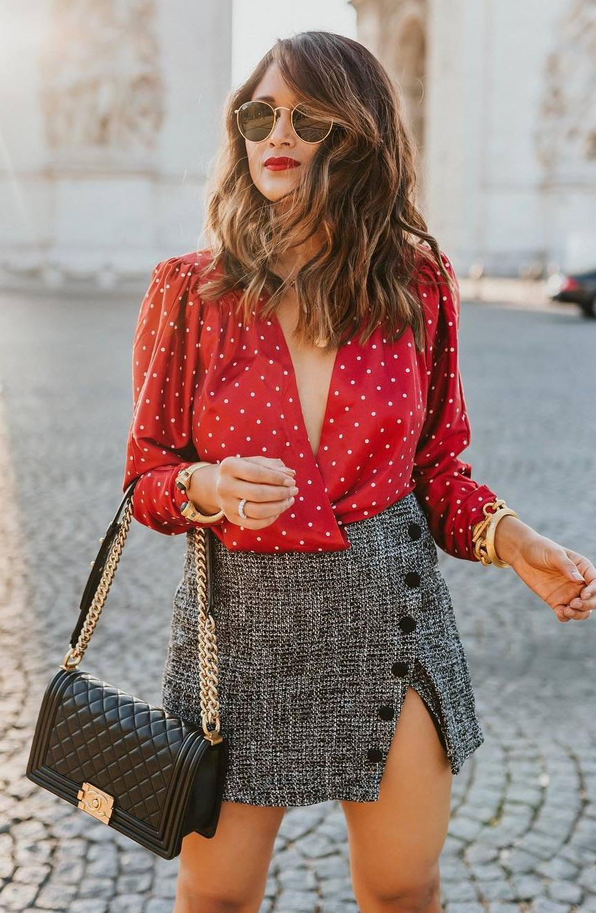 gorgeous outfit / red polka dots blouse + bag + tweed skirt