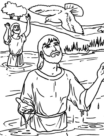 Dibujo de Jesús recibiendo al Espíritu Santo por medio del Bautismo (Para colorear pintar)