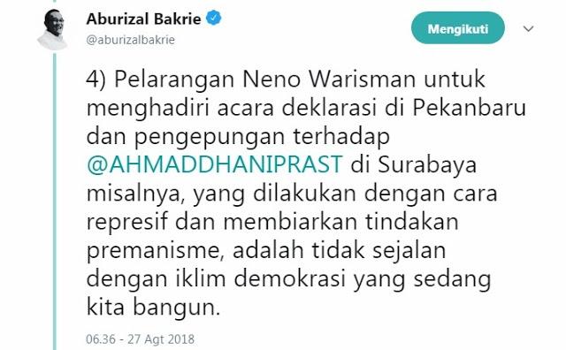 Aburizal Bakrie: Kami Menolak Cara-cara Represif Premanisme Yang Menimpa Aktivis #2019GantiPresiden 