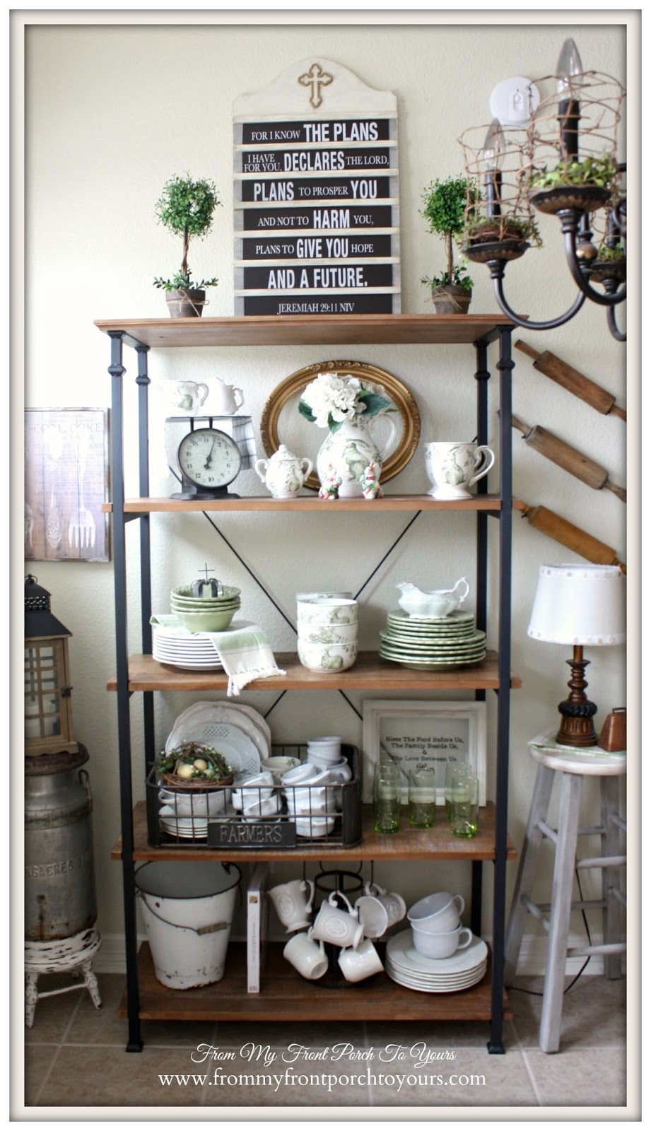 Bakers Rack-French Farmhouse Spring Breakfast Nook- From My Front Porch To Yours