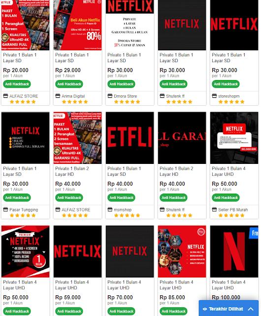 Akun Netflix di Itemku
