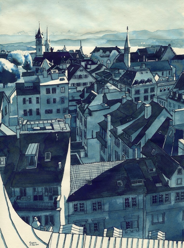 03-Zürich-View-Rupert-Taylor-Blue-Architectural-Urban-Drawings-www-designstack-co