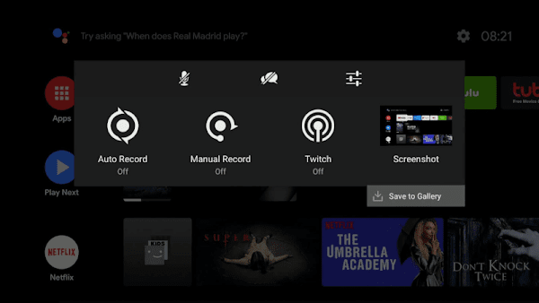 Menu Screenshot di NVIDIA Shield TV Android Oreo