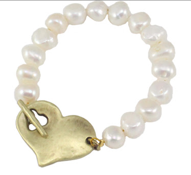 Danon Gold T Bar Heart Bracelet