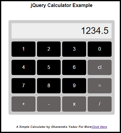 build a simple calculator using Jquery and HTML Devide
