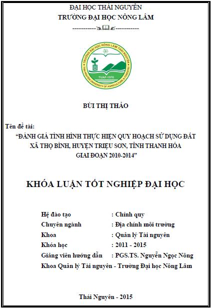 Đánh giá tình hình thực hiện quy hoạch sử dụng đất xã Thọ Bình huyện Triệu Sơn tỉnh Thanh Hóa giai đoạn 2010-2014