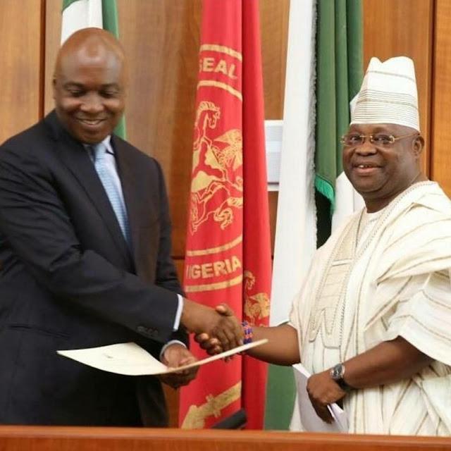 Party politics: Senate president sworn in Senator Adeleke as president