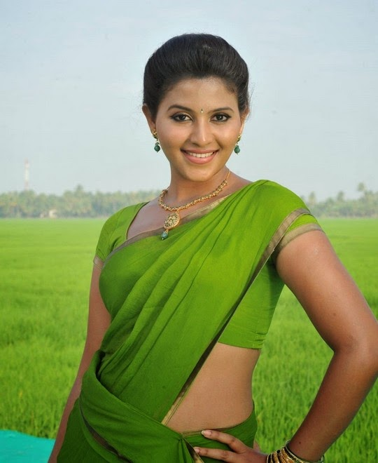 Actress Anjali In Green Saree Latest Photo Gallery