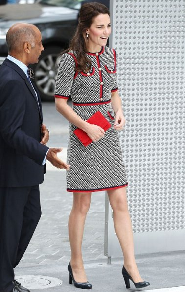 Kate Middleton wore GUCCI tweed dress, L.K. Bennett Art shoes, Annoushka pearls with Kiki McDonough hoops and carried a new red suede clutch.