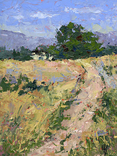 landscape painting abstract rural open land farm