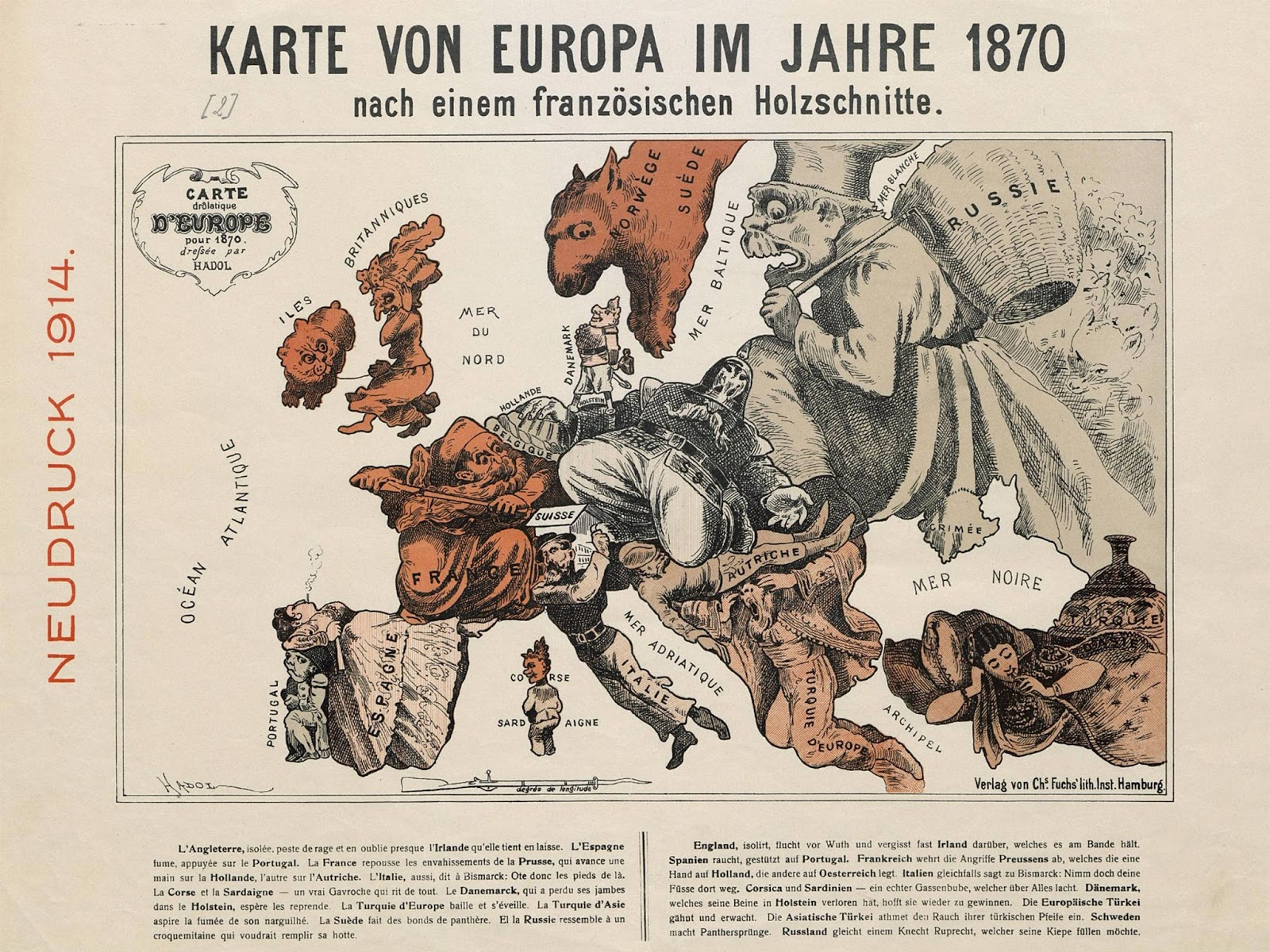 Satirical map of Europe (1870) (French)