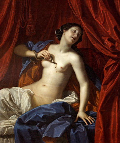 Death of Cleopatra, Benedetto Gennari II, Macabre Art, Macabre Paintings, Horror Paintings, Freak Art, Freak Paintings, Horror Picture, Terror Pictures