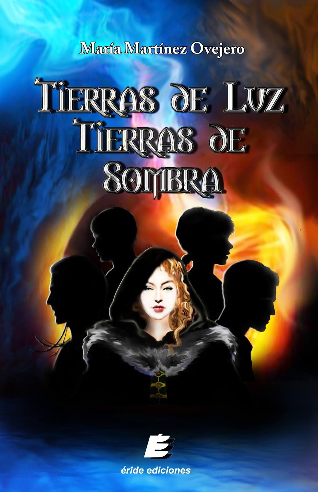 Portada de Tierras de Luz Tierras de Sombras, en la que se ven cuatro siluetas y una muchacha en el medio, con un fondo mitad azul y rojo.