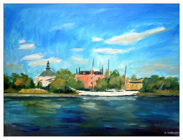 Pintura al oleo del velero Af Chapman en Estocolmo