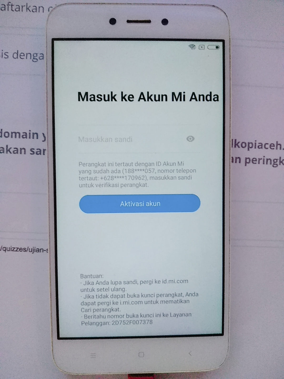 Cara ByPass Mi Account Redmi 5A