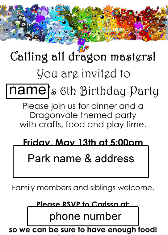 Our Easy Dragonvale Birthday Party Creative Green Living – Dragon Birthday Invitations