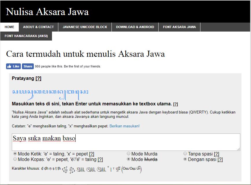 Translate Jawa ke Aksara Jawa Hanacaraka atau Sebaliknya ...