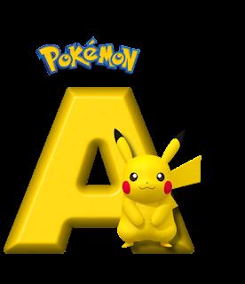 Abecedario de Pikachu de Pokémon. Pikachu Alphabet.