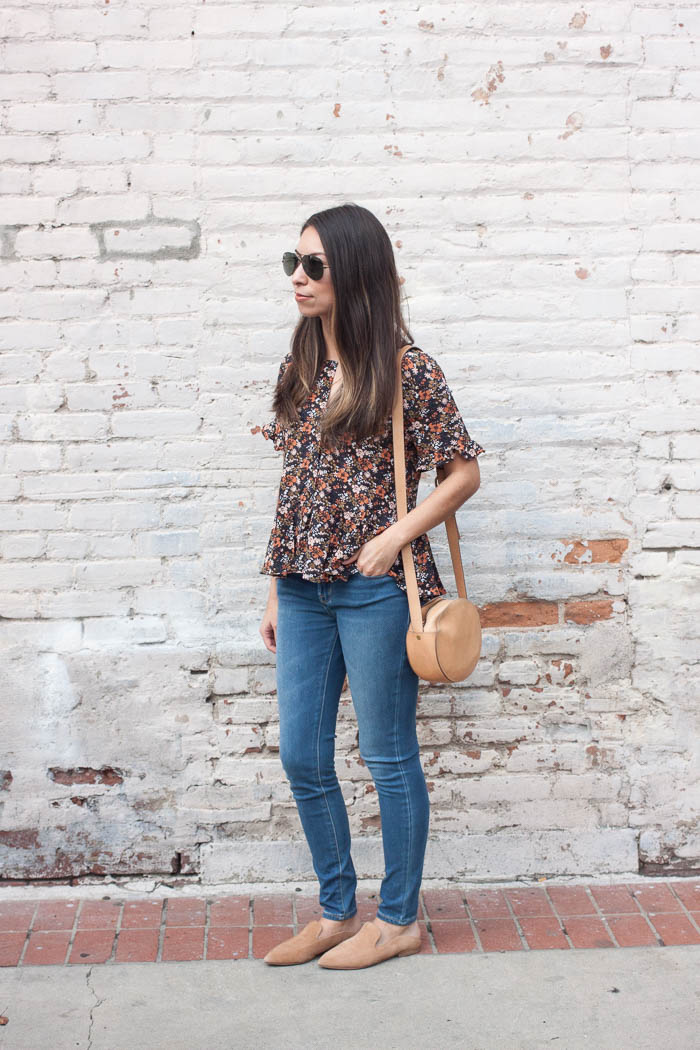 madewell floral top and jeans