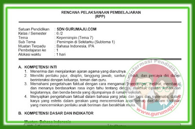 RPP Kelas 6 Tema 7 Kurikulum 2013 Revisi 2018