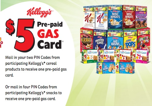 Kelloggs Free $5 Pre-Paid Gas Cards