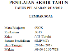 K13 Semester 2 2019 : Soal Pat / Ukk Pjok Kelas 7 Kurikulum 2013 Terbaru