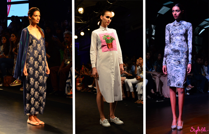 Indian designer Aiman, Siddhartha Bansal and Surendri display fashion garments and clothing at Lakme Fashion Week Summer Resort 2016 captured by Style File at St. Regis Mumbai