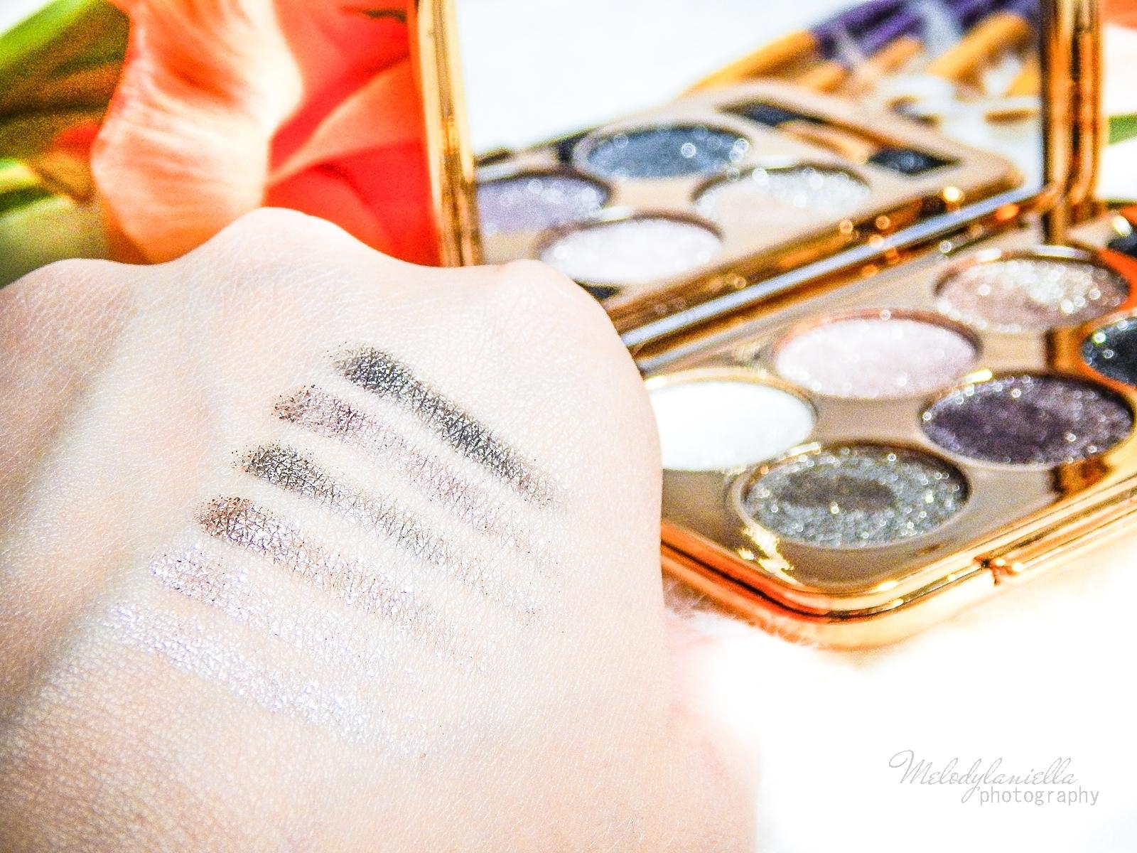 3 azjatyckie chińskie kosmetyki recenzja melodylaniella beauty paleta 6 cieni brokatowe cienie do powiek sammydress cienie do powiek ze złotem i brokatem kolory