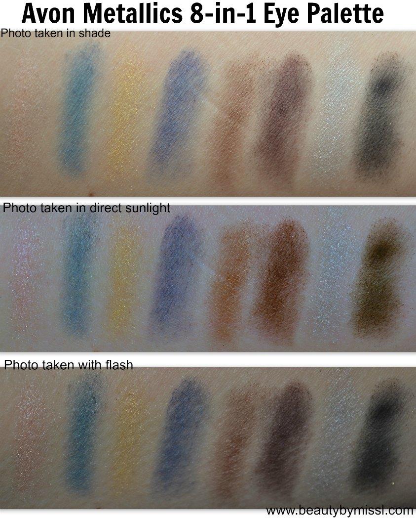 Avon Metallics 8-in-1 Eye Palette swatches