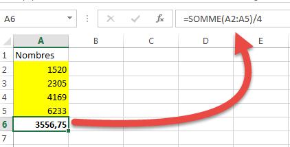 Formule utilisant la fonction SOMME