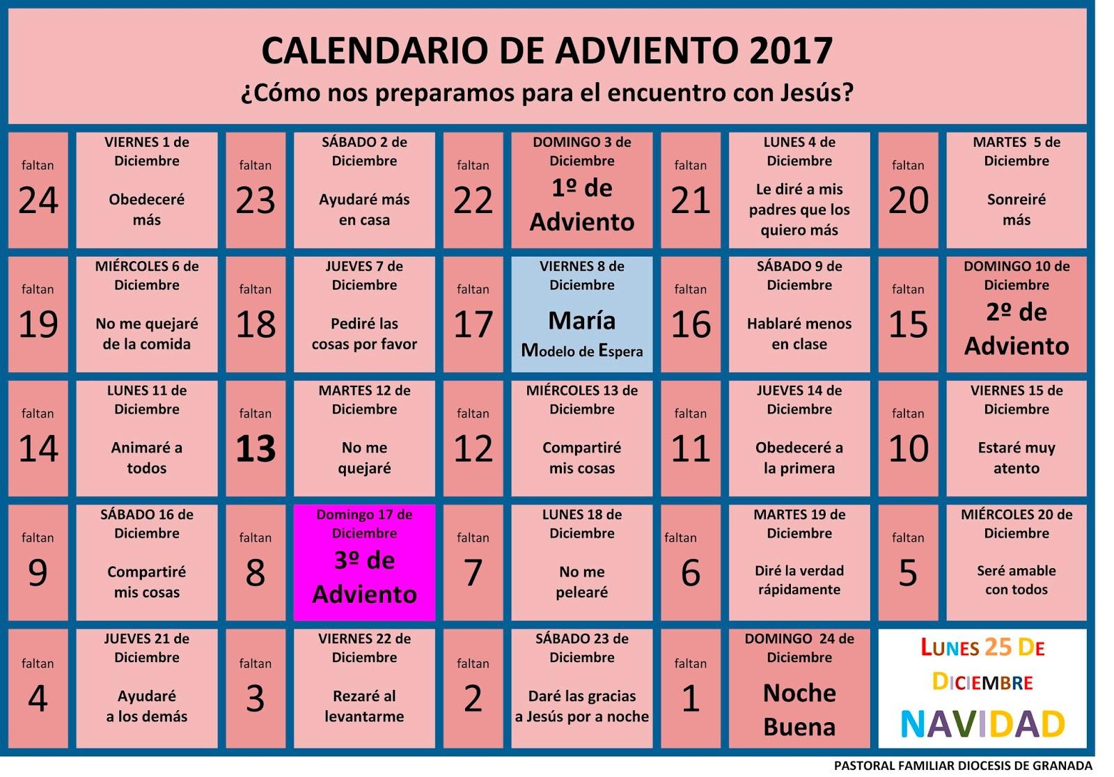 Pastoral Familiar Archidiocesis De Granada Calendarios De Adviento - Calendario-de-adviento
