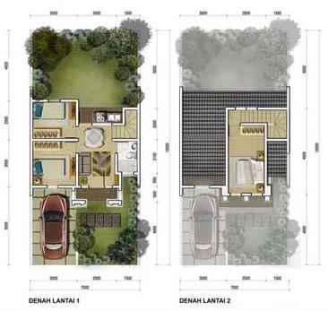 Denah rumah minimalis ukuran 7x15 meter 3 kamar tidur 2 lantai