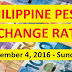 PHILIPPINE PESO EXCHANGE RATES: December 4, 2016 - Sunday