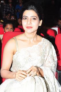 Samantha Stills in Designer Saree at Surya 24 Movie Audio Launch