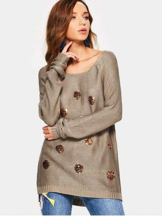Knit Sequin Embellished Sweater - Coffee