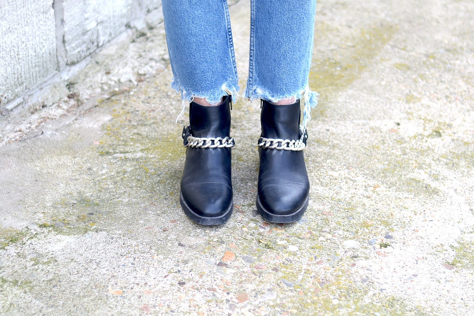Zara, chain boots, ripped jeans