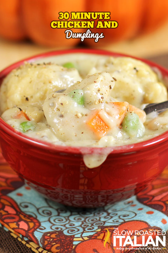 titled image (shown: red bowl of homemade chicken and dumplings)