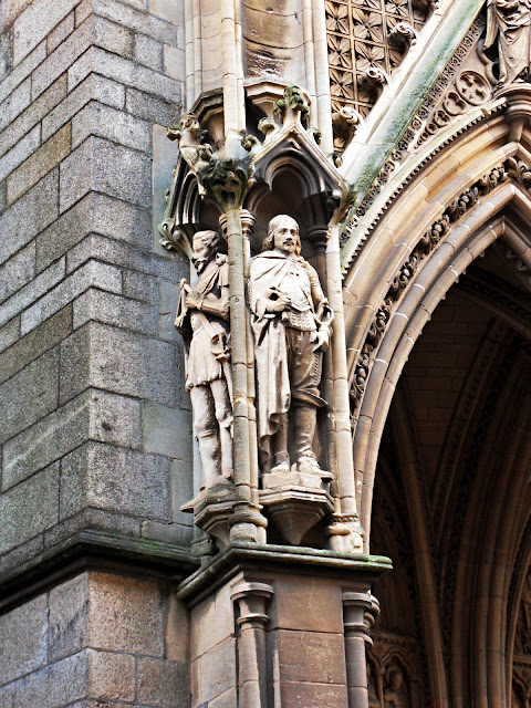 Staues and carvings on Truro Cathedral