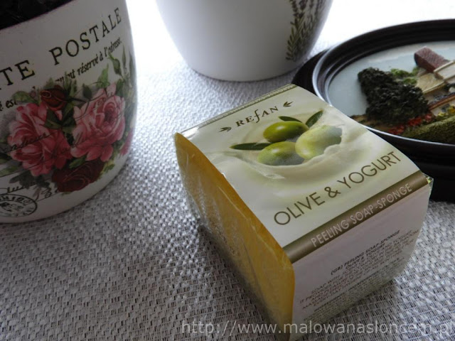 Mydełko z gąbką i peelingiem 3w1 ~ oliwka i jogurt ~ Refan