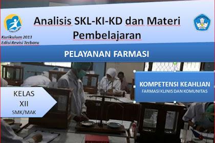 Analisis SKL,KI,KD dan Materi Pembelajaran Pelayanan Farmasi Kelas XII Kurikulum 2013 Revisi 2018