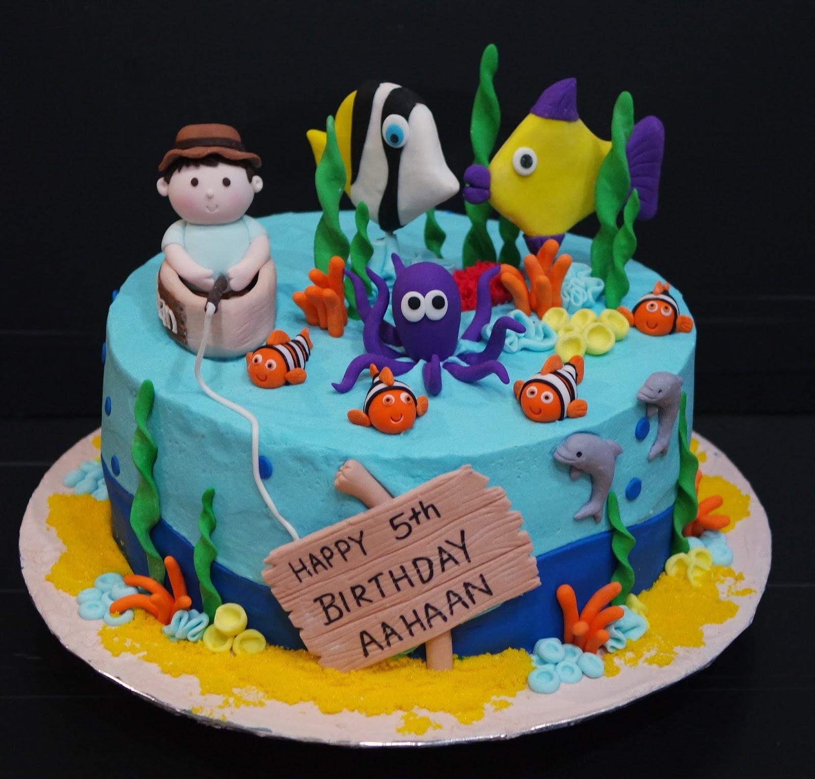 Cupcake divinity fishing theme cake for Fishing themed birthday cakes