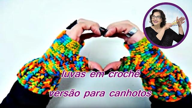 edinir croche ensina Luva de Croche para Canhotos no curso de croche com edinir croche blog aprender croche