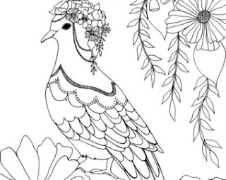 Cute Pigeon And Flower Coloring Pages