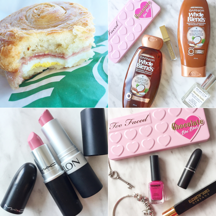 bbloggers, bbloggersca, beauty, instagram, instamonth, lbloggers, starbucks, ham swiss croissant, garnier, whole blends, demeter, elizabeth and james, revlon pink pout, mac snob