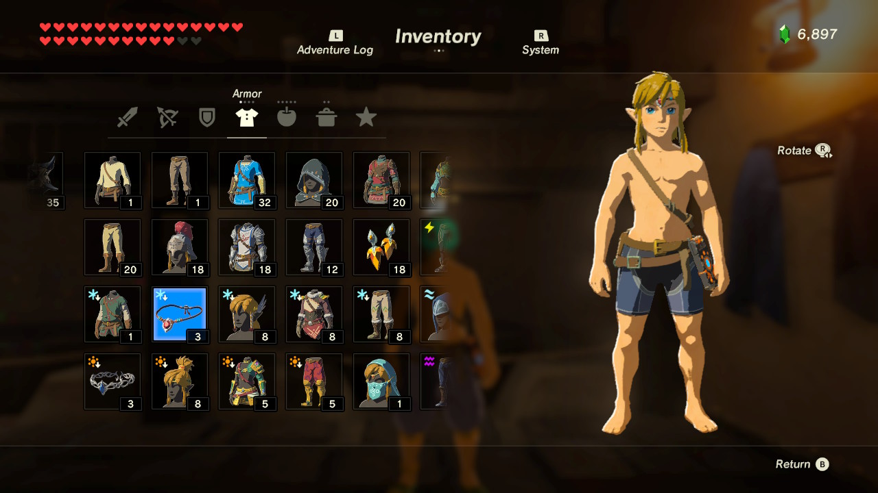 The Legend of Zelda: Breath of the Wild - All Clothing and