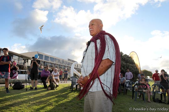 Kevin Tamati, wearing a pake kahukura (cloak) presented by Taape Tareha-O'Reilly - farewell for Kevin Tamati at Bluewater Hotel, Napier. photograph