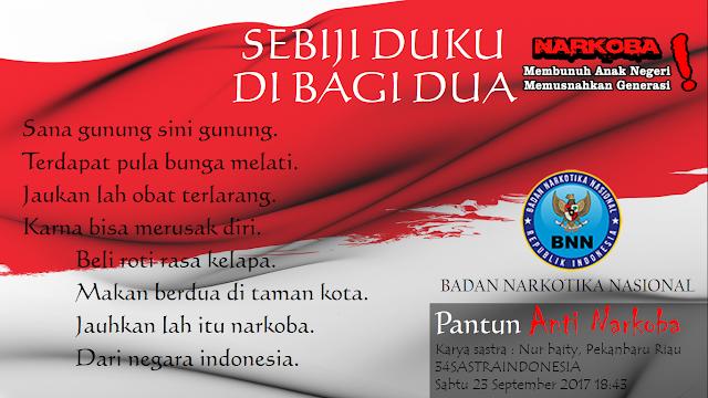 Puisi anti narkoba terbaru SEBIJI DUKU DI BAGI DUA | 34 Sastra Indonesia