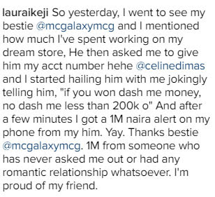 Girl narrates how she received 1m naira from her bestie, MC Galaxy