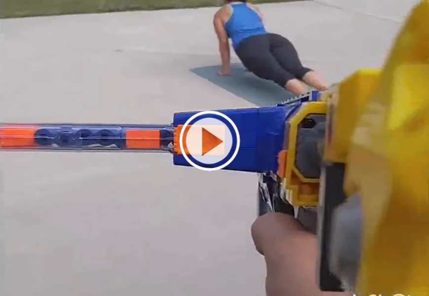 Husband drives wife ballistic by shooting her with nerf guns video husband drives wife ballistic by shooting her with nerf guns video sciox Image collections