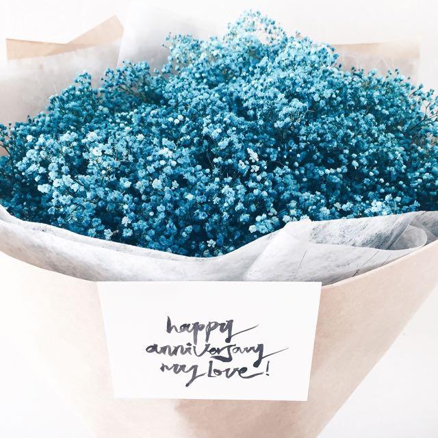 hoa baby màu xanh